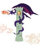 Un dragon et la princesse dans la tour Image stock