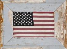 Un drapeau américain encadré rustique de vintage Photo libre de droits