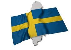 Un drapeau réaliste couvrant la forme de la Suède (séries) Photos libres de droits