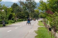 Un driver del trishaw sulla via La Nuova Guinea Immagini Stock