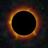 Un'eclipse solare con i chiarori solari nello spazio. Fotografia Stock