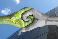 Un'ecologia delle due mani fotografia stock