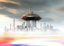 Un edificio futurista en una superficie del planeta