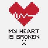 Un ejemplo bajo la forma de corazón quebrado pixelated ilustración del vector