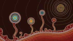 Un ejemplo basado en el estilo aborigen de la pintura del punto que representa árboles, la colina y el sol ilustración del vector