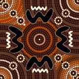 Un ejemplo basado en el estilo aborigen del depicti de la pintura del punto Imágenes de archivo libres de regalías