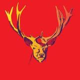 Un ejemplo colorido de un ciervo en un fondo rojo Imágenes de archivo libres de regalías