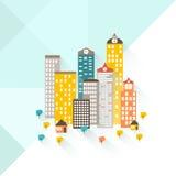 Un ejemplo colorido de una ciudad y de un área suburbana La parte inferior de la imagen es un área suburbana Fotos de archivo libres de regalías