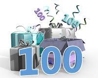 Un ejemplo de presentes con el número 100 Imagen de archivo libre de regalías