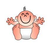 Un ejemplo de un bebé sonriente divertido con los brazos extendidos Fotos de archivo