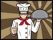Cocinero con un disco que muestra los pulgares para arriba Fotos de archivo