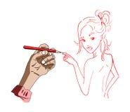 Un ejemplo de un dibujo de la mano de una muchacha libre illustration