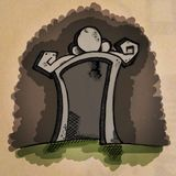 Esconda la piedra sepulcral de la historieta Imagen de archivo libre de regalías