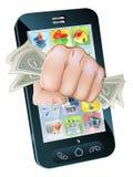 Concepto del teléfono celular del puño del efectivo Foto de archivo libre de regalías