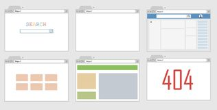 Un ejemplo de una ventana de navegador con una página web abierta libre illustration