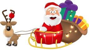 Un ejemplo del montar a caballo de Santa Claus en su trineo o trineo de la Navidad que entrega presentes En un fondo blanco aisla foto de archivo libre de regalías