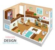 Un ejemplo del vector de un diseño interior del apartamento isométrico detallado moderno interiores isométricos del sitio 3d libre illustration
