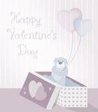 Un ejemplo dulce para el día de tarjeta del día de San Valentín con el oso de peluche, la caja de regalo del modelo y los globos  libre illustration