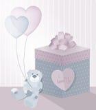 Un ejemplo dulce para el día de tarjeta del día de San Valentín con el oso de peluche, la caja de regalo y los globos transparent stock de ilustración