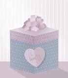 Un ejemplo dulce para el día de tarjeta del día de San Valentín con la caja de regalo realista, stock de ilustración