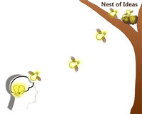 Un ejemplo gráfico con una jerarquía en un árbol y pájaros de bebé es bombillas Foto de archivo