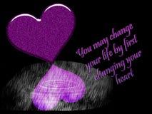 Un ejemplo gráfico de un fondo negro con los corazones púrpuras Fotografía de archivo libre de regalías