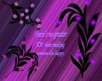 Un ejemplo gráfico de un refrán inspirado con las hojas del negro y el fondo púrpura brillante ilustración del vector