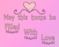Un ejemplo gráfico en un fondo rosado con un corazón Muestra agradable Fotos de archivo