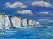 Un ejemplo, pintura de los acantilados de tiza, mar y cielo Fotos de archivo