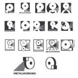 Un ejemplo que consiste en varias imágenes de un pedazo de metal y de un círculo del esmeril bajo la forma de símbolo o logotipo Imágenes de archivo libres de regalías