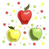 Un ejemplo vivo de manzanas: rojo, amarillo y verde ilustración del vector