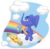 Un elefante blu con un'ascia e un ananas Fotografie Stock