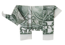 Un elefante del origami del dólar foto de archivo