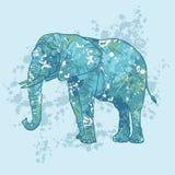 Un elefante pintado con los puntos coloreados ilustración del vector