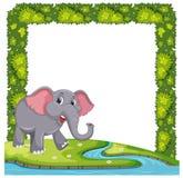 Un elefante sulla struttura della pianta royalty illustrazione gratis