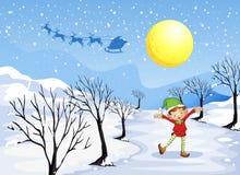 Un elfo in un posto nevoso illustrazione di stock