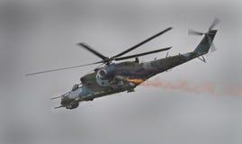 Un elicottero posteriore sovietico di era Mi-24 immagine stock