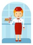 Un employé d'aliments de préparation rapide livrant un hamburger et une soude Fla de bande dessinée Images stock