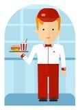 Un employé d'aliments de préparation rapide livrant un hamburger et une soude Illustration plate de bande dessinée Photos libres de droits