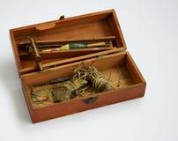 Un ` en bois s de boîte de pêche de garçons à partir de 1930 Photo stock