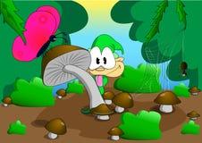 Un enano en un claro del bosque stock de ilustración