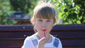 Un enfant avec la sucrerie dans des ses mains sur le fond de la fontaine d'été clips vidéos