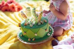 Un enfant avec un gâteau vert Photographie stock