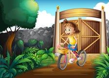 Un enfant faisant du vélo à la cour illustration de vecteur