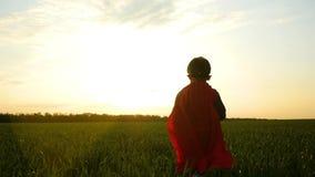 Un enfant heureux dans un costume de super héros court à travers une pelouse verte vers le coucher du soleil banque de vidéos