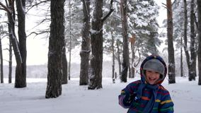 Un enfant riant heureux court vers une caméra mobile de stedikam dans une forêt ou un parc Un fonctionnement de jeux de petit gar banque de vidéos