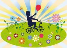 Un enfant sur une bicyclette Photos libres de droits