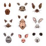 Un ensemble d'éléments animaux de visage La conception de l'oreille et du nez Masquez le cheval, vache, chien, chat, chameau, liè illustration stock