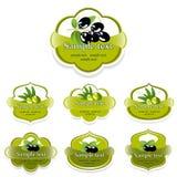 Un ensemble d'étiquettes avec des olives Images libres de droits