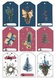 Un ensemble d'étiquettes de Noël Étiquettes bleues, rouges et blanches avec des objets de Noël Et les espaces pour l'inscription illustration de vecteur